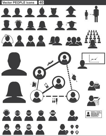 man face profile: Vector set iconos web pueblo de comunicaci�n