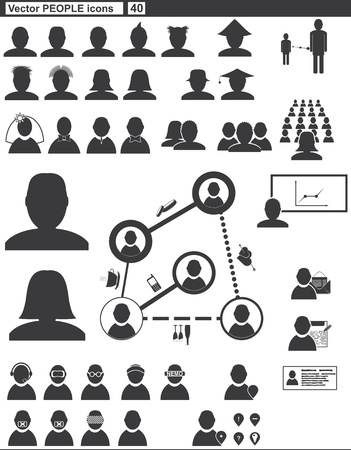 Vector set web icons people communication