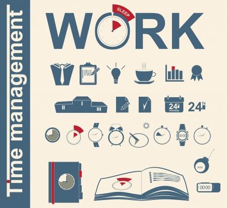 gestion del tiempo: establecer el tiempo de los iconos de la gesti�n empresarial