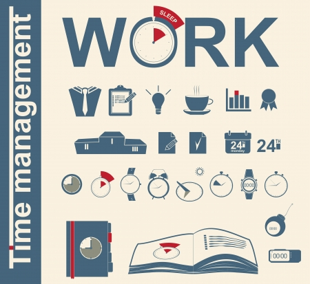 timemanagement: set pictogrammen time management bedrijf Stock Illustratie