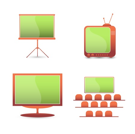 set  color icons  tv  monitor Vector