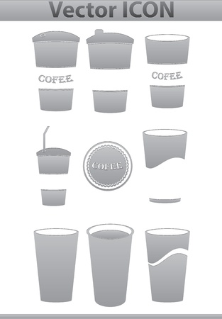 Vector brown coffee icons set  Paper Cup and cafe photo