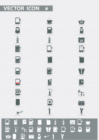 Vector icons set  Gas Station