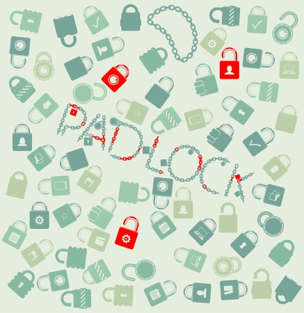 set web icons  padlock and chain seamless photo
