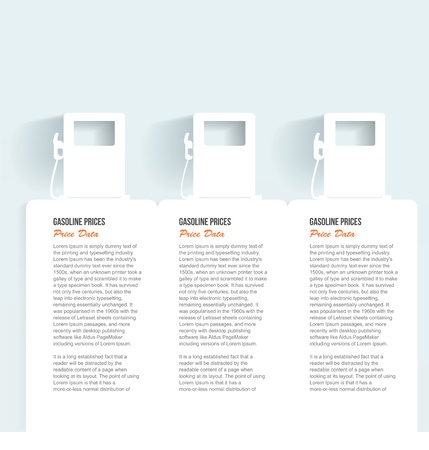 Set of banners with jerrycan   gas pump on white photo