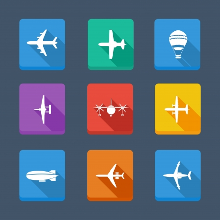 dirigible: collection airplane and gray  Set icons