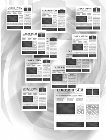 lately news: Vector newspapers and news icon. Black and white