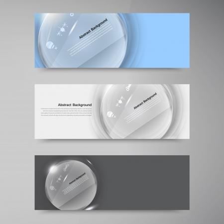 Vector banner white circle glass. Abstract background Vector