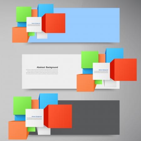 Vector abstracte achtergrond. Vierkant en 3d-object Stock Illustratie