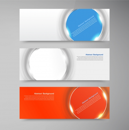 Vector banner background. White circle and set Vector
