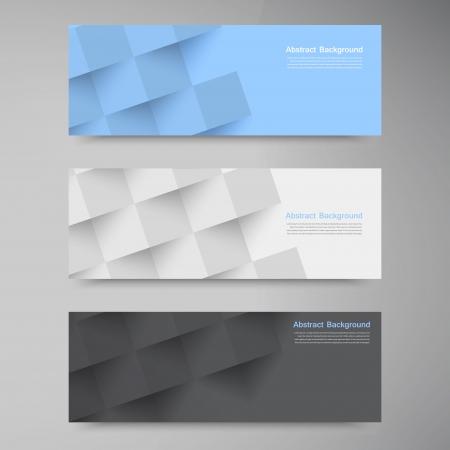 web header: Banderas del vector y cuadrados. Color y conjunto