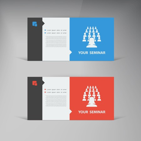 Vector flat UI design trend set  business card. Vector