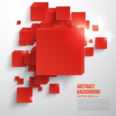 抽象的なカードと赤。3 d