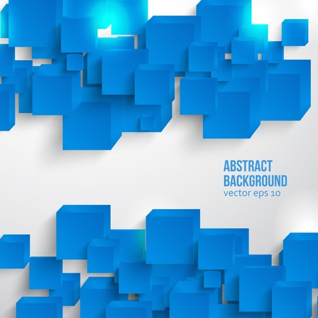 square. Abstract card and blue. 3d Vector