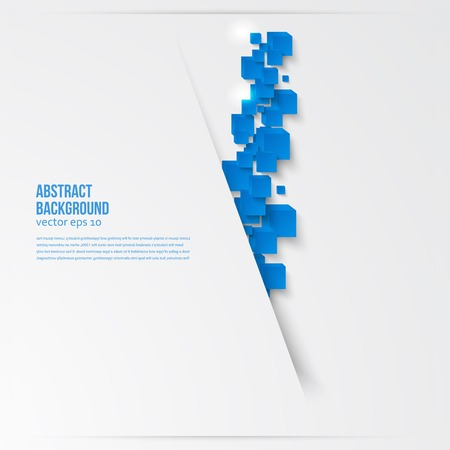 quadrati astratti: piazza. Scheda astratta e blu. 3d Vettoriali