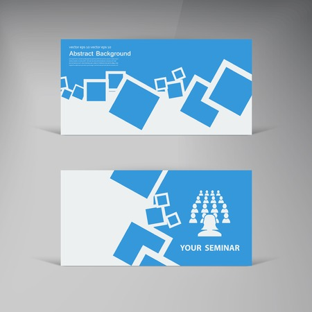 Vector  business card. Abstract blue brochure card and squares Vector