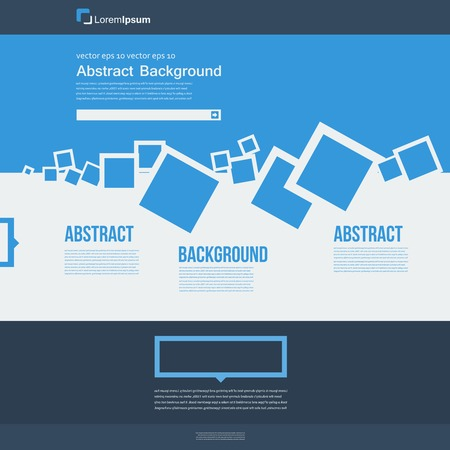 Vector  website. Abstract blue brochure card and squares Vector
