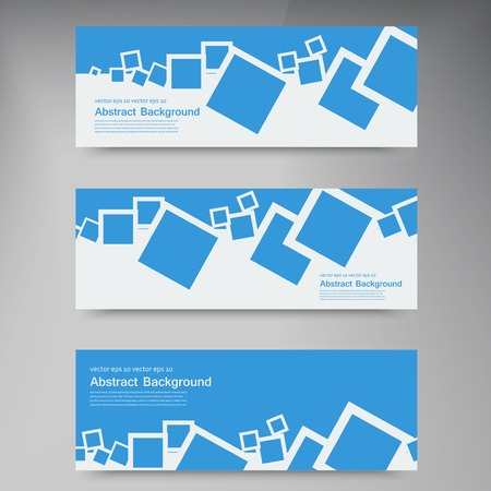 Vector  banner. Abstract blue brochure card and squares Vector
