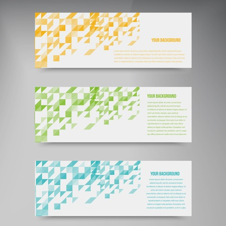 Abstact triangle template banner. Color set Vector.