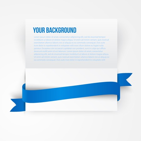 blue ribbon: Vector paper template banner. White note Vector.