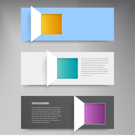 Vector banner and squares. Set web design Vector