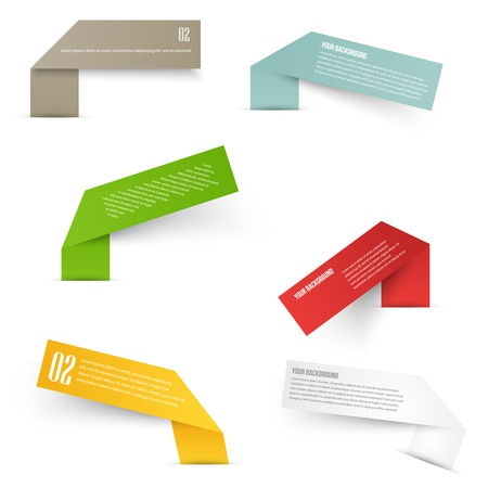 yellow ribbon: Set of blank rectangle labels with acute corners Illustration