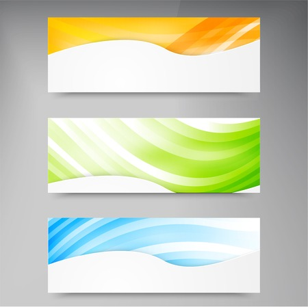 yellow line: A set of modern vector banners with blue lines Illustration