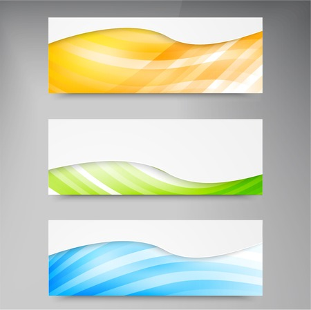 A set of modern vector banners with blue lines Vector