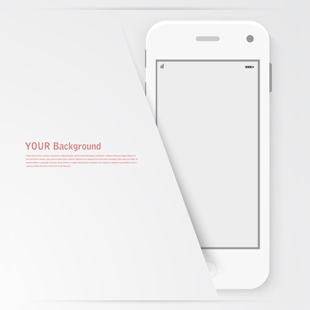Smart Phone with Isolated. Realistic white vector. Vector