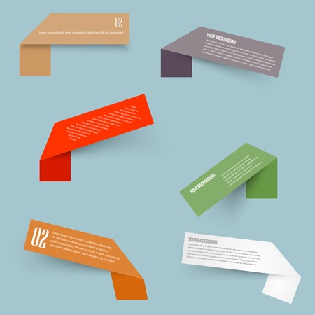 corner ribbon: Set of blank rectangle labels with acute corners Illustration