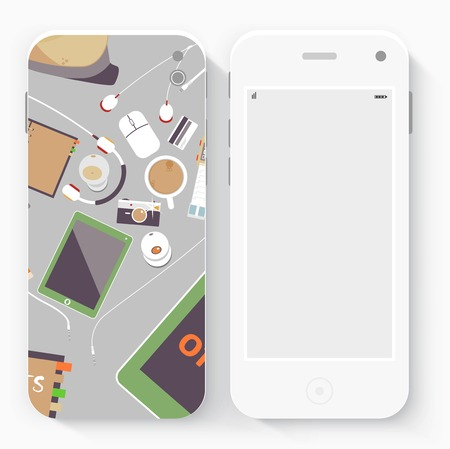 Smart Phone with Isolated. Realistic white vector. Flat design vector illustration concept for mobile apps. Design kit UI Elements Vector