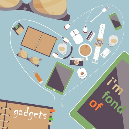 fond: Im fond of gadgets. Vector set of Flat business icons. Digital Art and Gadgets.