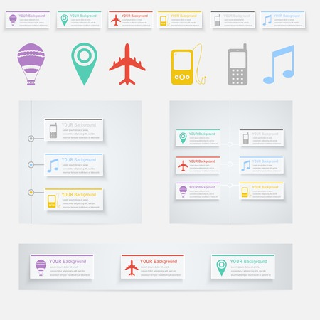 Vector Timeline Infographic with diagrams and text. Vector