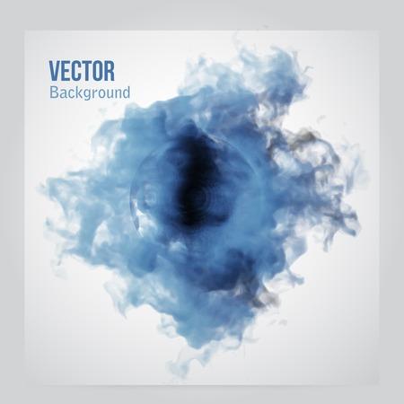 ベクトルの青い雲。煙、水彩テクスチャと花の背景。