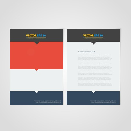 Flyer template back and front design. Brochure design templates collection with flat backgrounds Vector