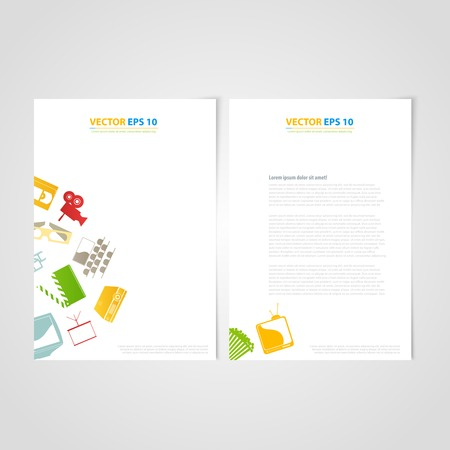 Flyer template back and front design. Brochure design templates collection with media icons Vector
