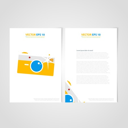 Flyer template back and front design. Brochure design templates collection with photo frames Vector