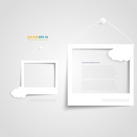 Vector cornici bianche sul muro bianco. Cornice e ombra con la nube Archivio Fotografico - 32322831
