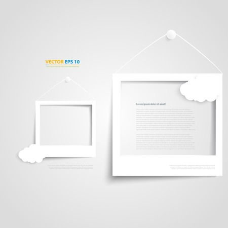 background photo: Vector white frames on the white wall. Picture frame and shadow with cloud