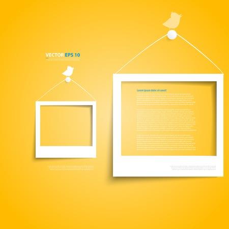 黄色の壁に白いベクトル フレーム。