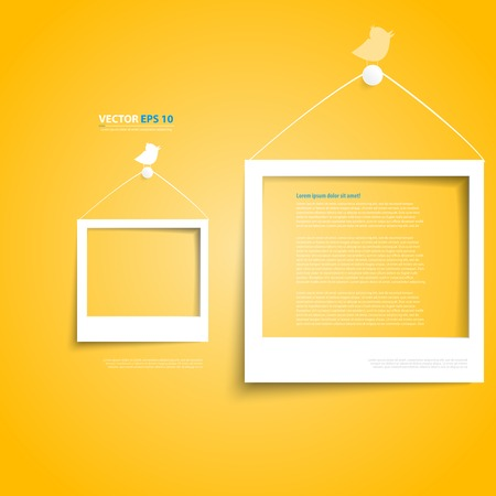 Vector white frames on the yellow wall.