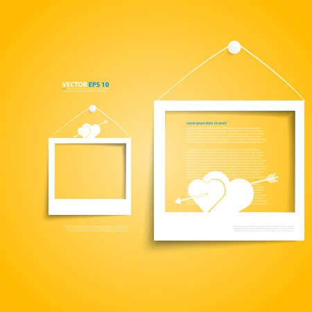 Vector white frames on the yellow wall. Picture frame and shadow with wedding photo Vector