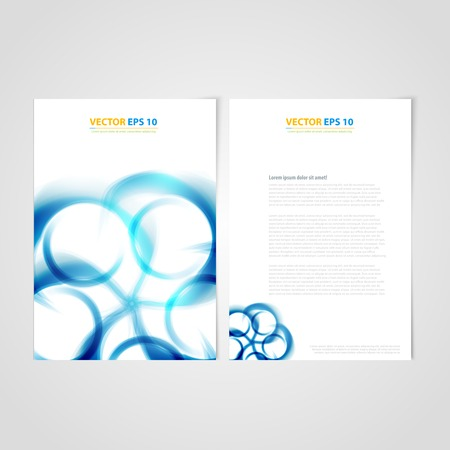 Flyer template back and front design. Brochure design templates collection with blue curve Vector