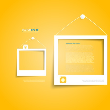 Vector white frames on the yellow wall. Picture frame and shadow with social icon