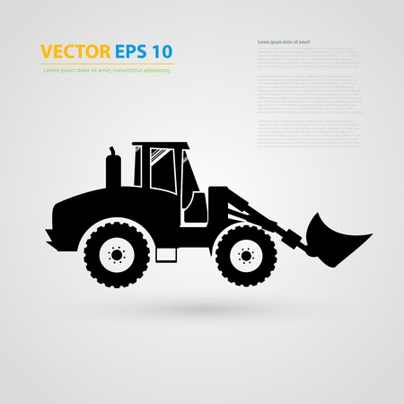 skid: isolated tractor icons. Black auto silhouettes.