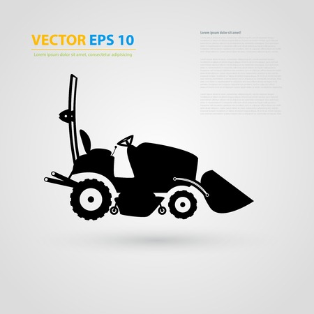 skid loader: isolated tractor icons. Black auto silhouettes.