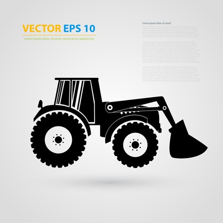 skid steer loader: isolated tractor icons. Black auto silhouettes.