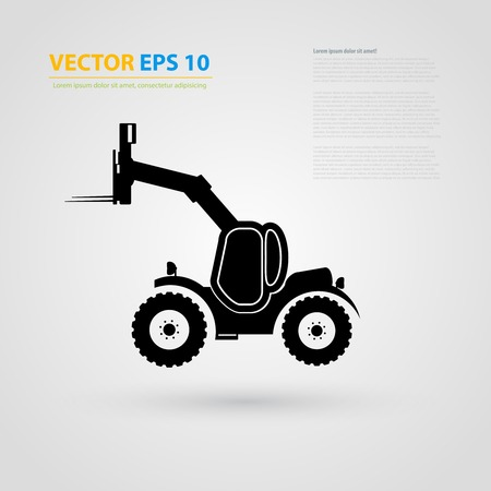 steer: isolated tractor icons. Black auto silhouettes.