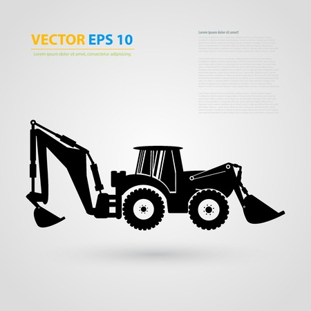 backhoe loader: isolated tractor icons. Black auto silhouettes.