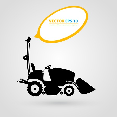 skid steer: isolated tractor icons. Black auto silhouettes